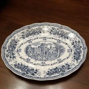 Vintage Blue & White Floral Platter
